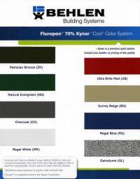 Behlen Fluropon Kynar Color Chart